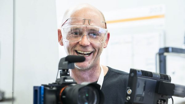 Portrait of the industrial photographer Christian Eppelt. Taken on a video production at Tyco. Shot by Fabian Martin.