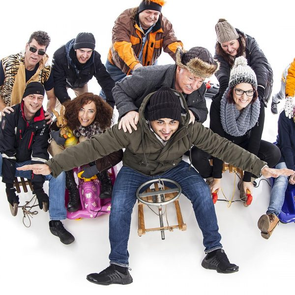 Team photo of a crew for a christmas card. Shot by the industrial photographer Christian Eppelt