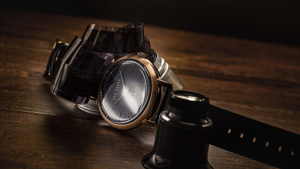 Ted Baker watch for social media marketing. Watch photography in the style of the brand